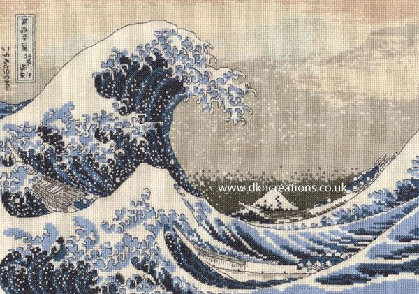 Katsushika Hokuasi The Great Wave Cross Stitch Kit